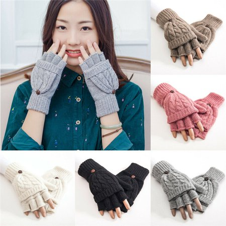 SUPERHOMUSE Half Fingerless Gloves Convertible Flip Knitted Artificial Wool Mitten Winter Warm Hand Gloves Recycled Wool Mittens