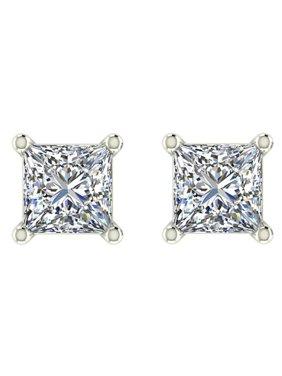 6d04cc2b6 Product Image 1/5 ct tw G SI Natural Princess Cut Diamond Stud Earrings 14K  White Gold. Glitz Design