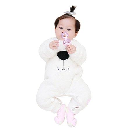 Newborn Baby Boys Girls Cartoon Bear Snowsuit Warm Fleece Romper Jumpsuit