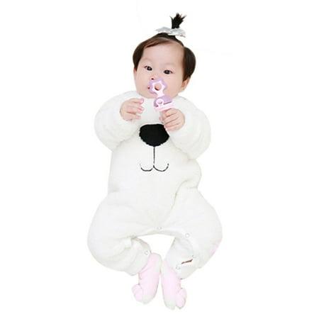 Newborn Baby Boys Girls Cartoon Bear Snowsuit Warm Fleece Romper Jumpsuit ()