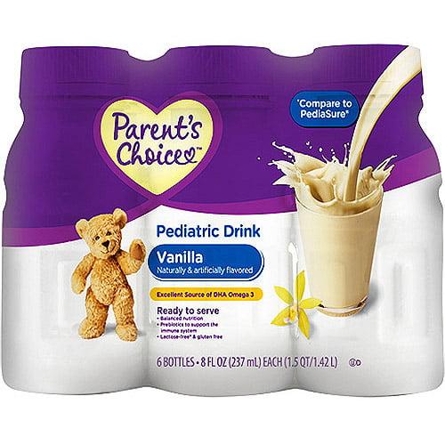 Parent's Choice Nutritional Pediatric Drink, Vanilla, 6-Pack