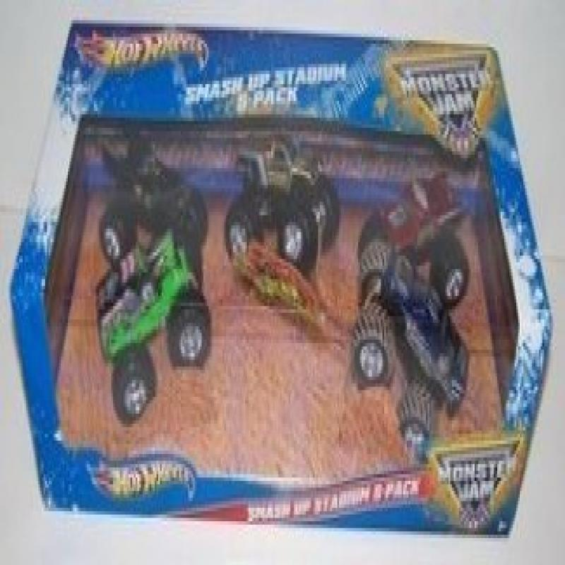 Hot Wheels Monster Jam Smash Up Stadium 5 Pack 1:64 Style...