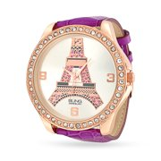 Bling Jewelry Purple Leather Womens Pink Crystal Eiffel Tower Stainless Steel Back Watch