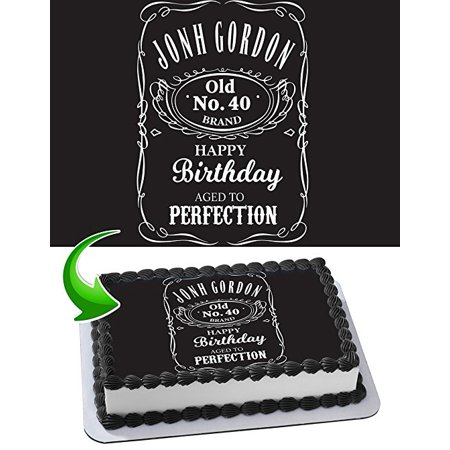 Jack Daniel's Cake Image Personalized Topper Edible Image Cake Topper Personalized Birthday 1/4 Sheet Decoration Party Birthday Sugar Frosting Transfer Fondant Image Edible Image for (Sugar Free Birthday Cakes)