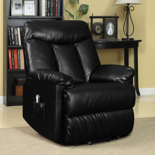 Prolounger Lya Black Renu Leather Power Recline and Lift Wall Hugger Chair