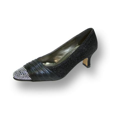 FLORAL Dolly Women's Wide Width Rhinestone Toe Cap Glittery Metallic Pump BLACK