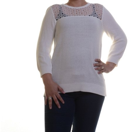 NY Collection Sweater Cream 3/4 Sleeve Size L
