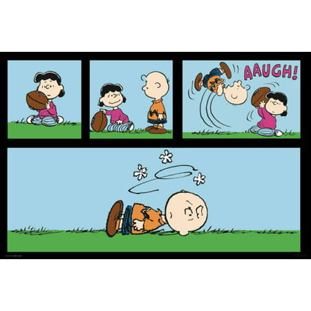 Charlie Brown And Lucy Football - Peanuts Football Charlie Brown And Lucy Van Pelt Playing Kicking Poster 36x24 inch