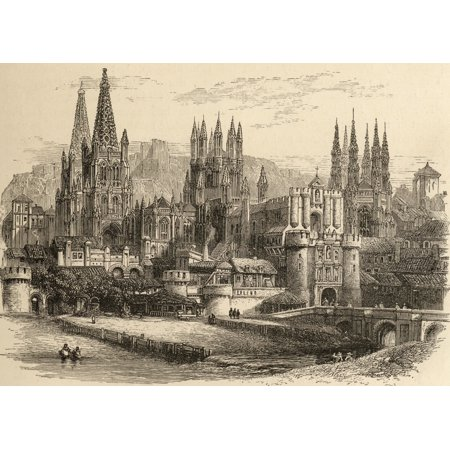 - Bridge Gateway And Cathedral Of Burgos Spain From The Book Spanish Pictures By The Rev Samuel Manning Published 1870 Canvas Art - Ken Welsh  Design Pics (17 x 12)