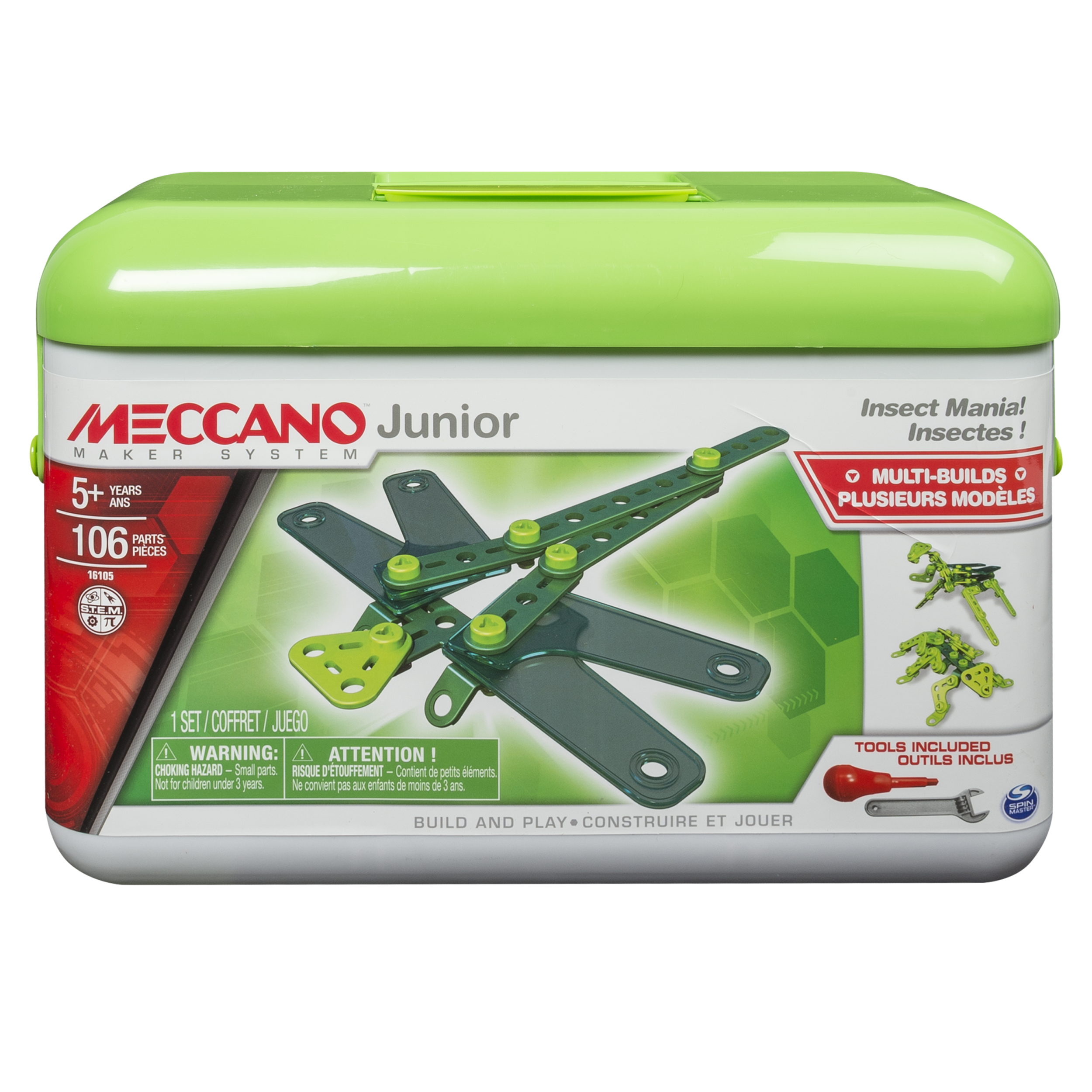 Meccano by Erector, Junior Toolbox, Insect Mania, 4 Model Building Kit