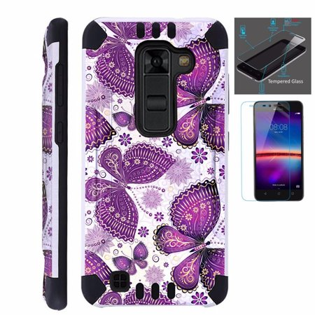For LG Stylo 2 Plus MS550 (Metro PCS / T-Mobile Only) Case + Tempered Glass Screen Protector / Slim Dual Layer Brushed Texture Armor Hybrid TPU KomBatGuard Phone Cover (Purple (Best Metro Pcs Phone Under 100)