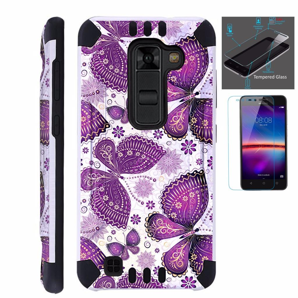 For LG K7 / K8 / Tribute 5 / Escape 3 / Phoenix2 / Treasure Case + Tempered Glass Screen Protector / Slim Dual Layer Brushed Texture Armor Hybrid TPU KomBatGuard Phone Cover (Purple Butterfly)