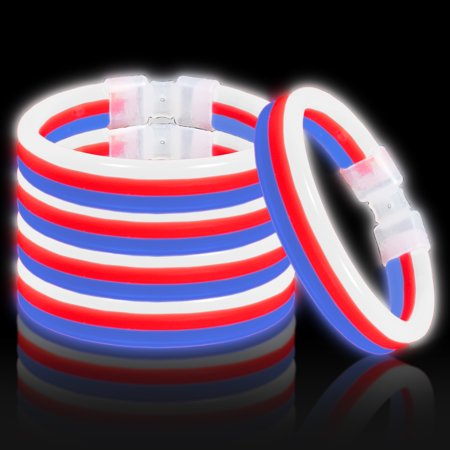 Lumistick Glow Band Bracelets - Triple Wide Neon Party Favor Glow Sticks with Connectors Red White And Blue 30ct - Glow Braclets