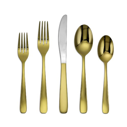 Breakwater Bay Huxley Bourne Gold Mirror 20-Piece Flatware Set by