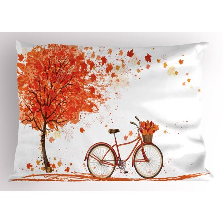 Autumn Pillow Sham Watercolor Fall Season Landscape with Leaves Flying in Breeze Bicycle, Decorative Standard Size Printed Pillowcase, 26 X 20 Inches, Orange Brown and White, by Ambesonne