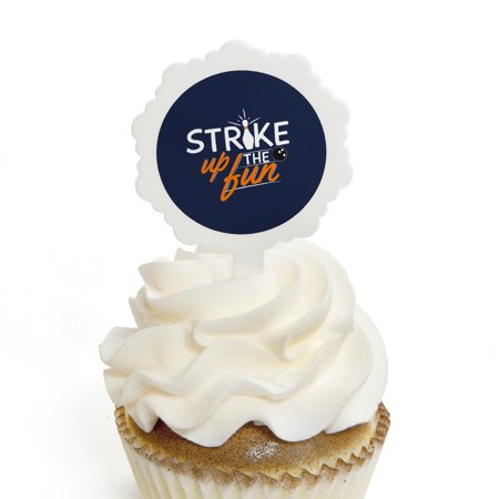 Strike Up the Fun - Bowling - Cupcake Picks with Stickers - Birthday Party or Baby Shower Cupcake Toppers - 12 Count (Bowling Cupcakes)