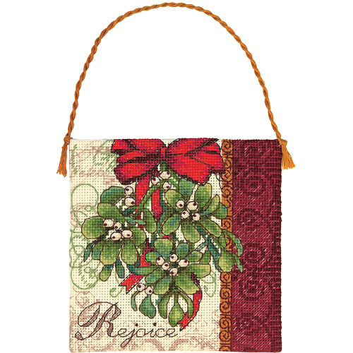 """Dimensions Gold Collection Petites Mistletoe Ornament Counted Cross Stitch, 7"""" x 7"""", 18-Count"""