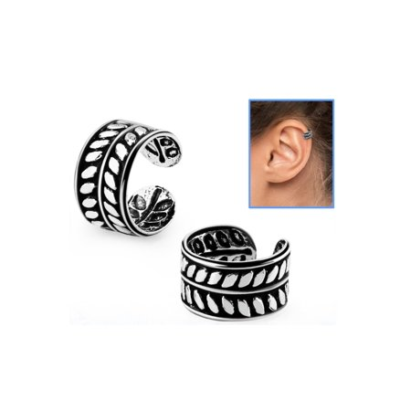 iJewelry2 Leaf Design Sterling Silver Helix Ear Cuff Clip-on Ring ()