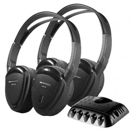 Transmitter 2 Wireless Headphones (Soundstream 2 Swivel Ear Pad Single Channel IR Wireless Headphones with Transmitter (vhp22) )