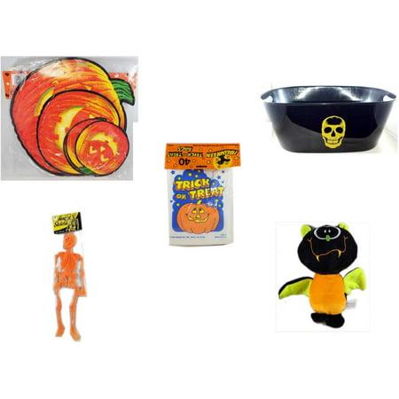 Halloween Fun Gift Bundle [5 Piece] - Classic Pumpkin Cutouts Set of 9 - Black With Skeleton Oval Party Tub -  Trick or Treat Bags 40/ct - Hanging Skeleton Orange - Plush Appeal  Bat Plush 8