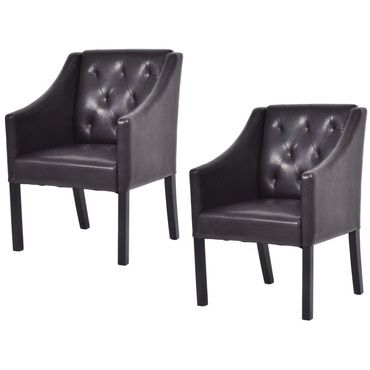 Costway Set Of 2 Accent Arm Chair PU Leather Tufted Leisure Living Room  Furniture