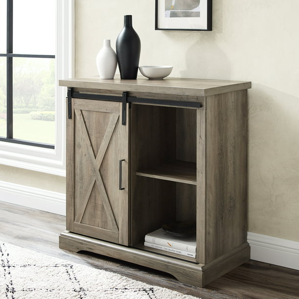 Manor Park Modern Farmhouse Sliding Barn Door Grey Wash Accent Cabinet
