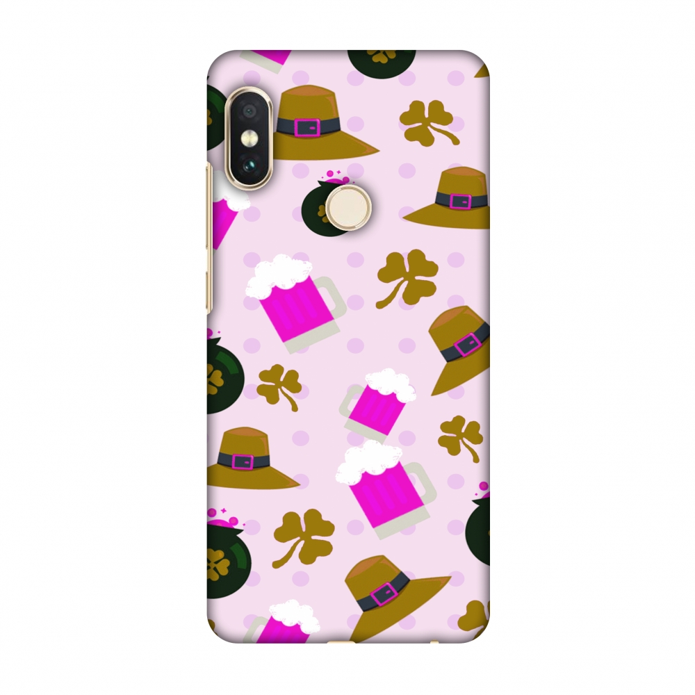 Xiaomi Redmi Note 5 Pro Case - Shamrock, hats, beer and potluck - Olive, Hard Plastic Back Cover, Slim Profile Cute Printed Designer Snap on Case with Screen Cleaning Kit