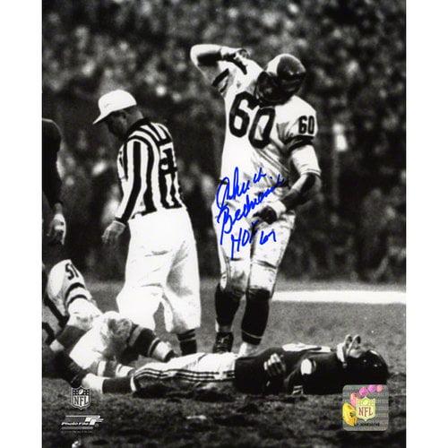 NFL - Chuck Bednarik Autographed Photograph | Details: Philadelphia Eagles, HOF 67 Inscription, Vertical Print, 8x10