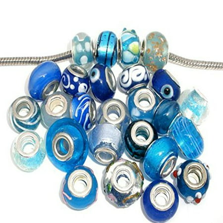 Ten (10) Pack of Assorted Blue Glass Lampwork, Murano Glass Beads for European Style Bracelet - Halloween Lampwork Beads