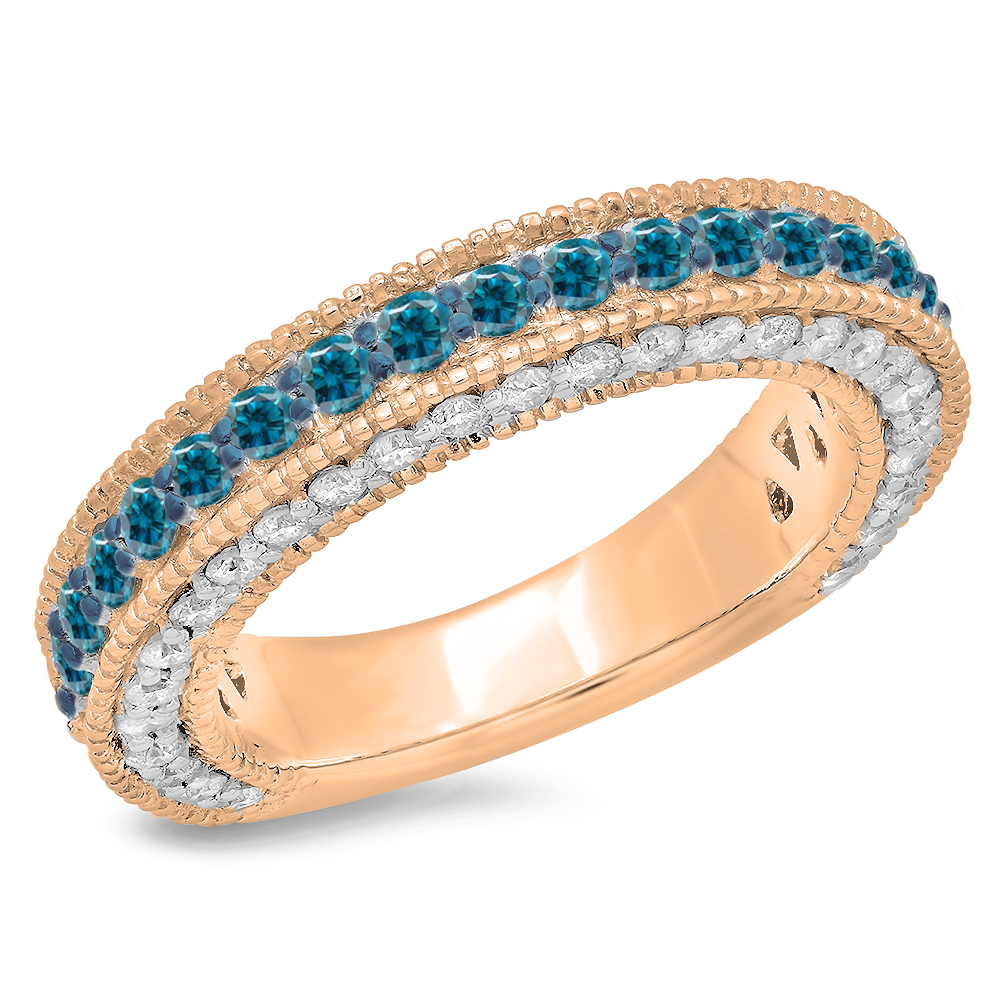 1.60 Carat (ctw) 18K Rose Gold Round Cut Blue & White Diamond Ladies Millgrain Anniversary Wedding Stackable Band
