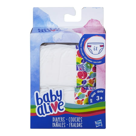 Baby Alive 6 Pack of Diaper Refills for Baby Alive -
