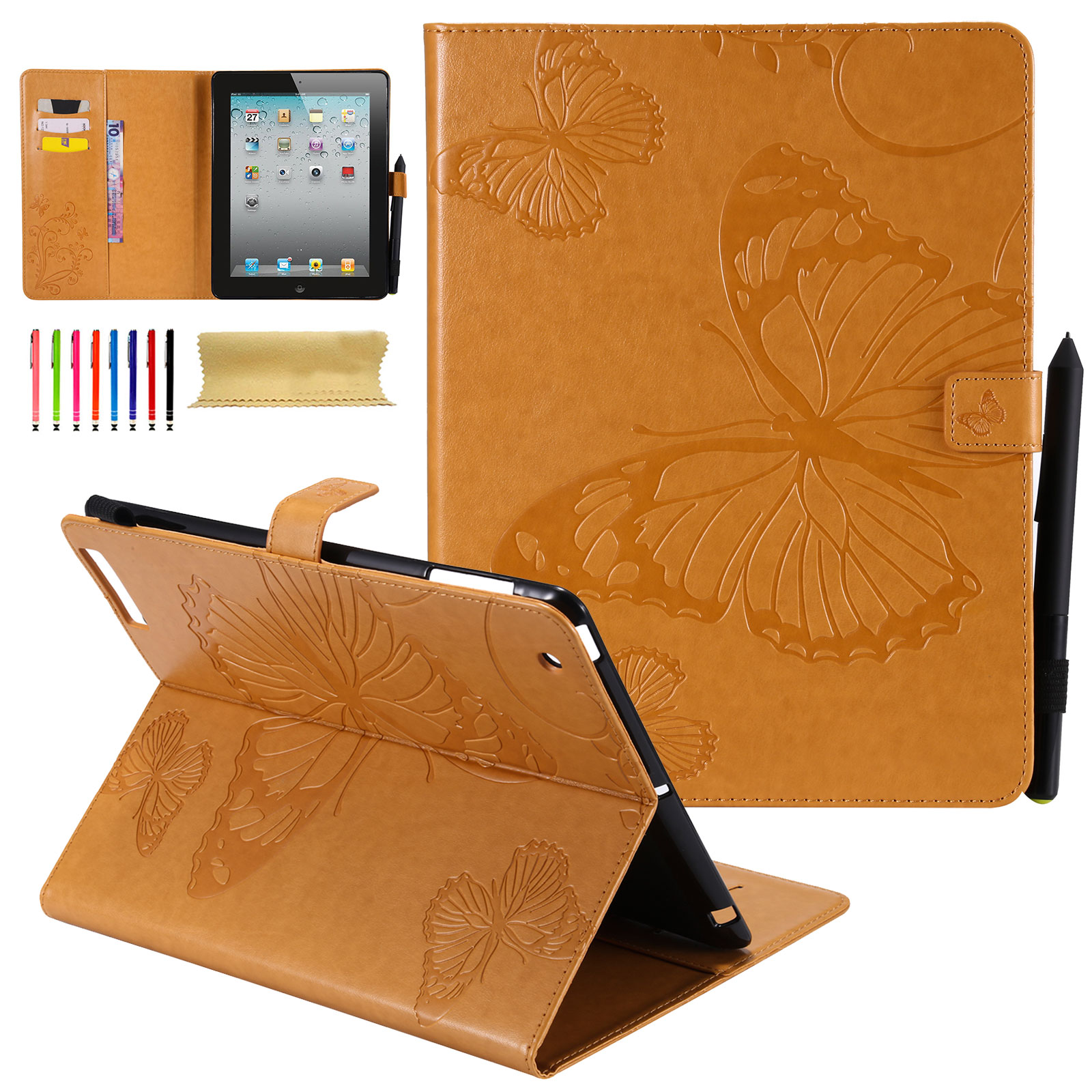 iPad 4 Case, iPad 3 Case, iPad 2 Case, Goodest [Embossed Butterfly] Smart PU Leather Folio Stand Covers and Cases w/ Auto Wake Sleep Function for Apple 9.7 inch iPad 2nd / 3rd / 4th Generation, Yellow