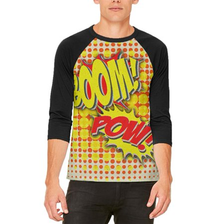 Boom On Live Halloween (Halloween Boom Pow Vintage Comic Book Costume Mens Raglan T)