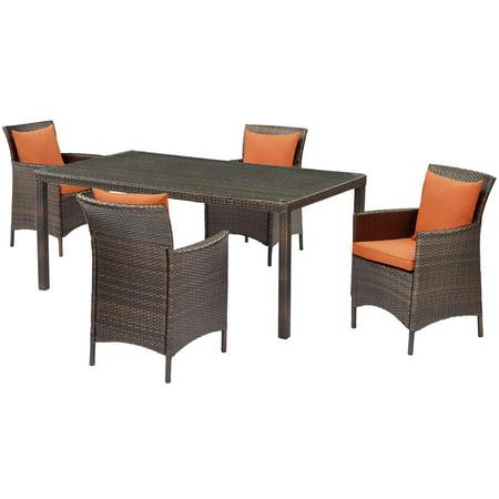 Contemporary Modern Urban Designer Outdoor Patio Balcony Garden Furniture Dining Chair and Table Set, Rattan Wicker, Brown Orange