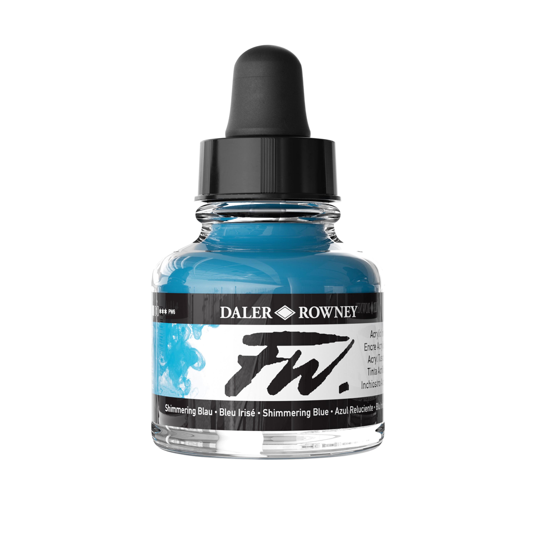 Daler-Rowney FW Acrylic Artists Ink, 1 oz. Dropper-Top Bottle, Blue