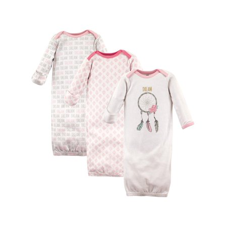 Hudson Baby Girl Gowns, 3-pack
