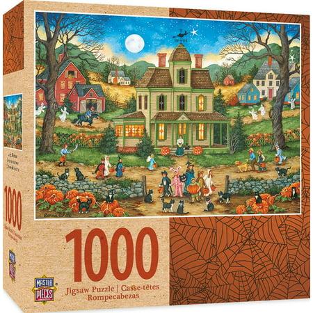 Seasonal Lucky Thirteen Halloween Jigsaw Puzzle by Bonnie White, 1000-Piece, Halloween folk art scene puzzle By MasterPieces