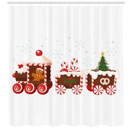 Christmas Shower Curtain.Christmas Shower Curtain Train With Gingerbread Cream Candy Cartoon Toys Snowflakes Presents Fabric Bathroom Set With Hooks White Brown Vermilion