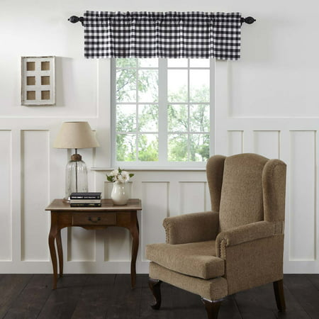 Antique White Black Farmhouse Kitchen Curtains Jenna Buffalo Check Rod Pocket Cotton Buffalo Check 16x60 Valance