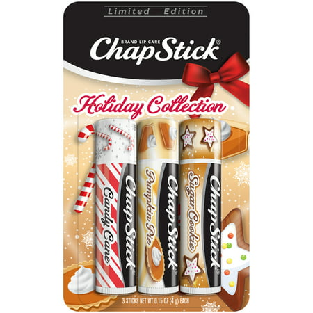 ChapStick Holiday Limited Edition (Candy Cane, Pumpkin Pie & Sugar Cookie Flavors, 1 Blister Pack of 3 Sticks) Seasonal Flavored Lip Balm Tube, 0.15 Ounce Each