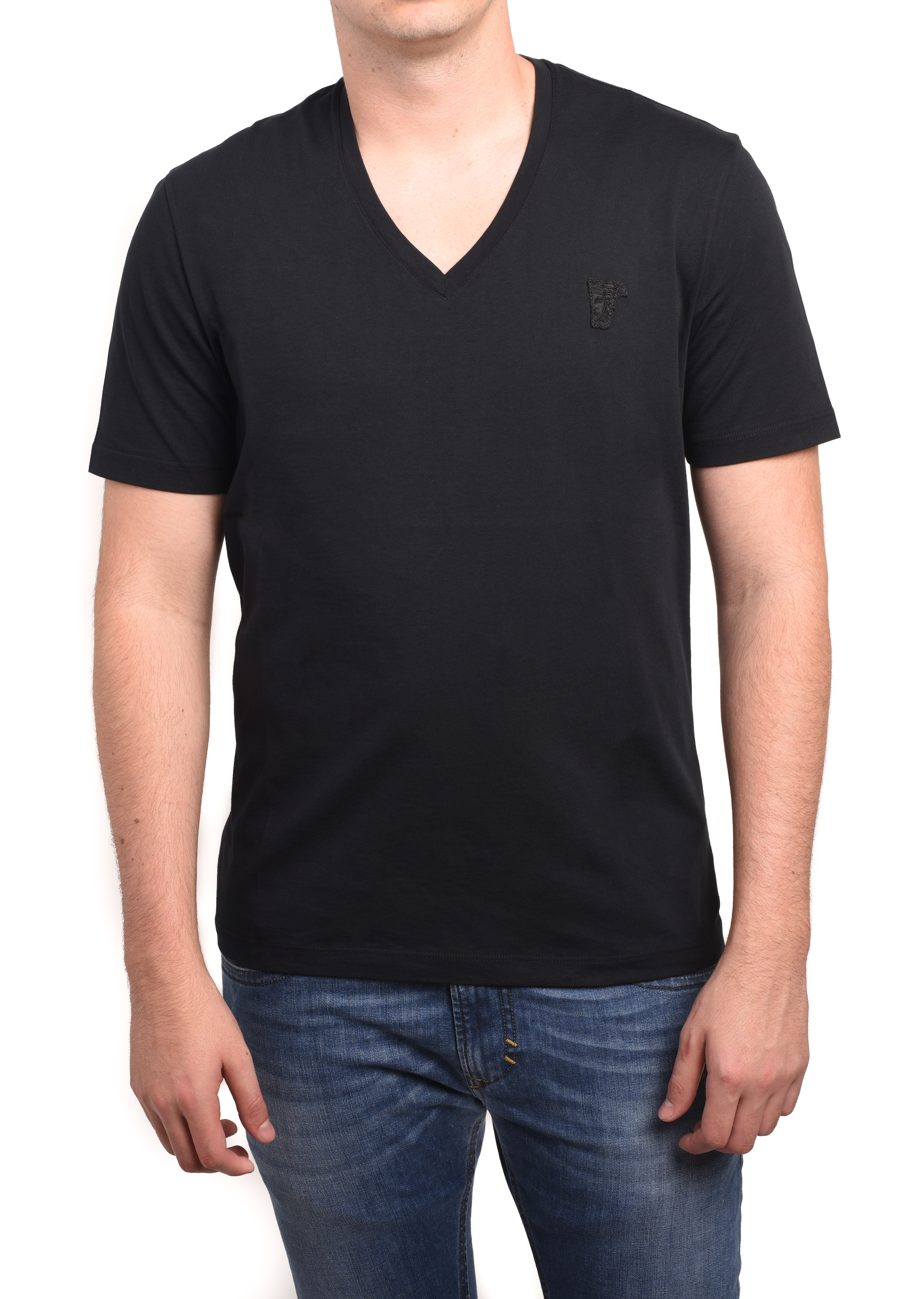 9e69c5e8 Versace Collection Men Medusa V-Neck Tee T-Shirt Black