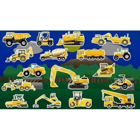 Construction Vehicles Trucks Cake Topper Edible Frosting Image 1/4 Sheet - Fire Truck Cake