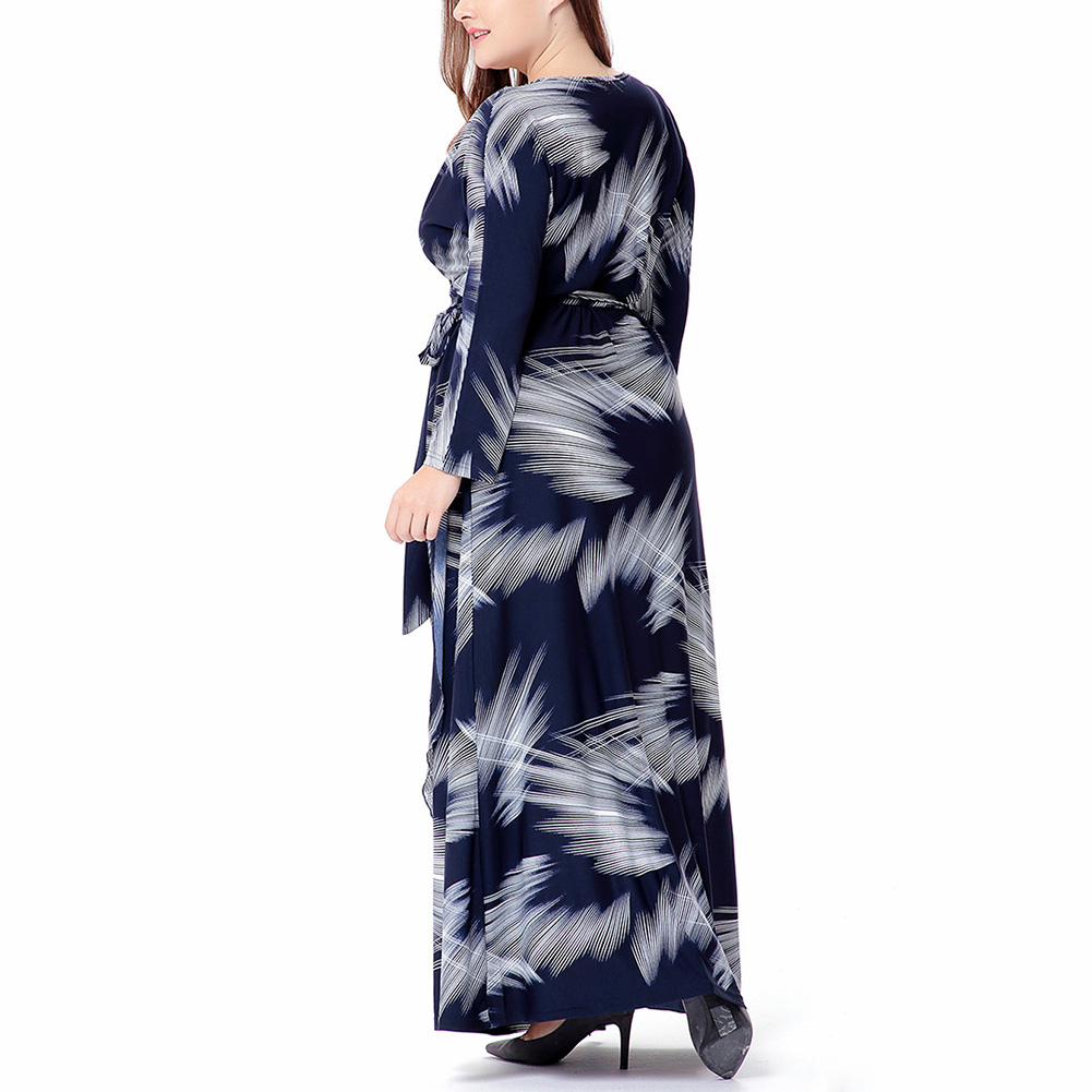 Womens Stylish V-Neck Digital Graffiti Printed Maxi Dress Belt Plus Size