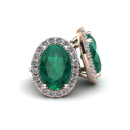 1 Carat Oval Shape Emerald and Halo Diamond Stud Earrings In 10 Karat Rose Gold
