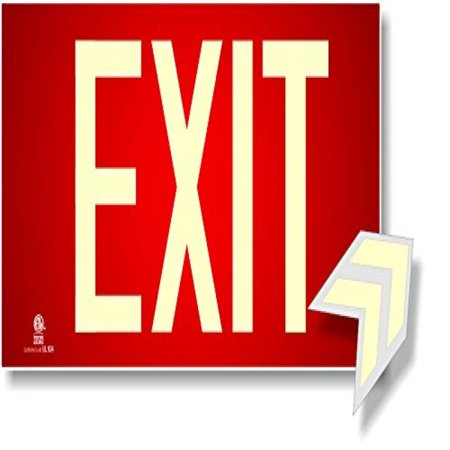 Photoluminescent Exit Sign Red - Aluminum Code Approved UL 924/IBC 2012/NFPA 101 (Neutral Package Installation Failed Exit Code 0x00000003 3)