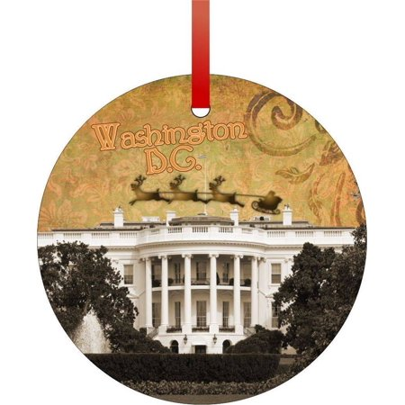 Vintage Santa and Sleigh Over the White House-Washington D.C. Flat Round - Shaped Christmas Holiday Hanging Tree Ornament Disc Made in the U.S.A.