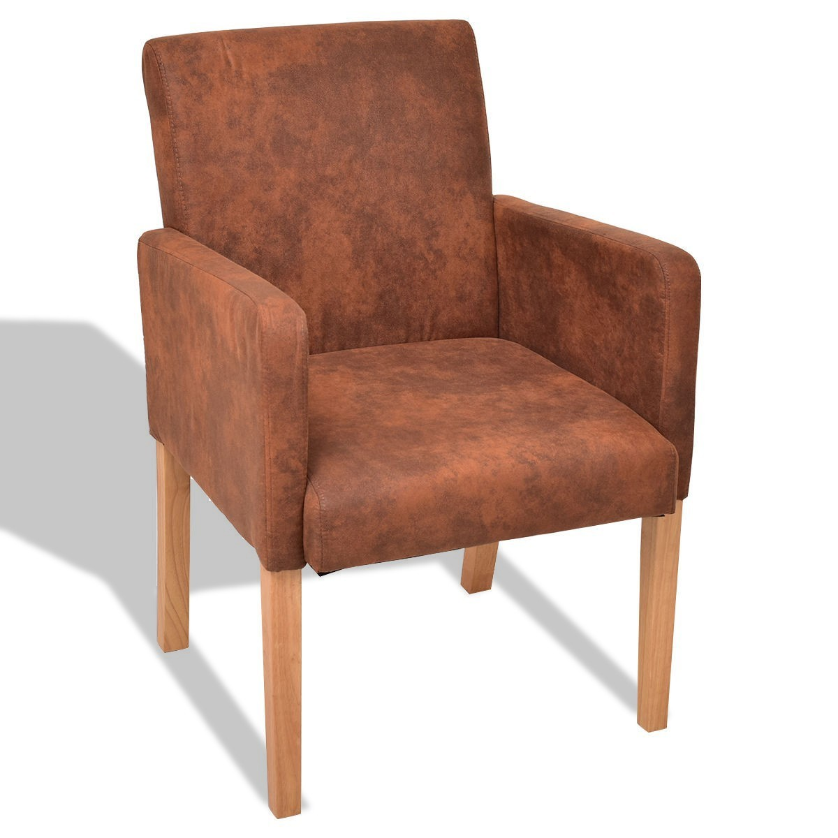 Brown Fabric Armrest Dining Chair - Brown