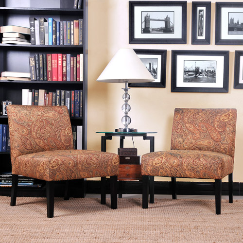 Mia Armless Accent Chairs Paisley Pattern Set of 2