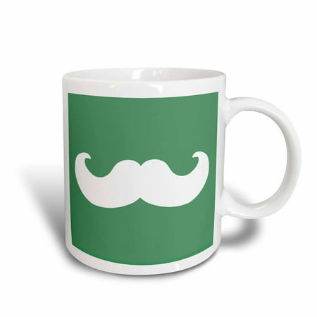 (3dRose White mustache on green - Ironic hipster moustache - Humorous - Fun - Whimsical - Silly - Funny, Ceramic Mug, 11-ounce)