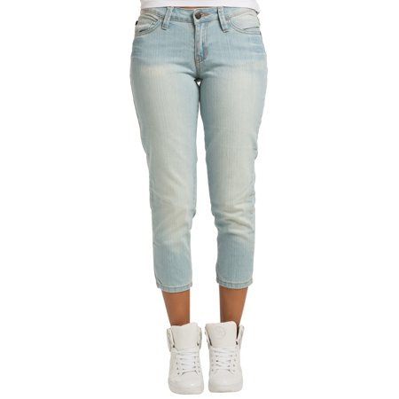Sweet Vibes Womens Heavy Blast Wash Stretch Denim Skinny Cropped Jean Zipper Hem